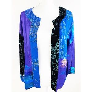 Chico's Other - Chico's Silk Kimono Jacket Open Front Sheer